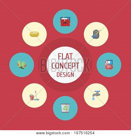 Flat Icons Sponge, Carpet Vacuuming, Faucet And Other Vector Elements