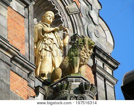Stunning sculpture on the facade of Malmo city hall, Malmo, Sweden