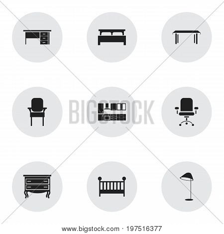 Set Of 9 Editable Interior Icons. Includes Symbols Such As Illuminant, Bearings, Trestle And More