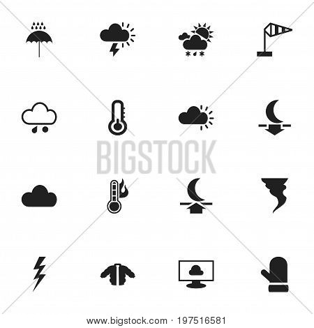 Set Of 16 Editable Air Icons. Includes Symbols Such As Tornado, Moon Up, Breeze Vane And More