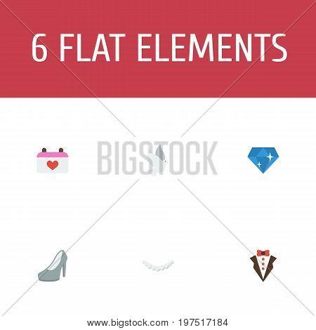 Flat Icons Sandal, Bridegroom Dress, Jewelry Vector Elements