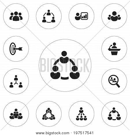 Set Of 12 Editable Cooperation Icons. Includes Symbols Such As Group, Leadership, Human Resouces And More