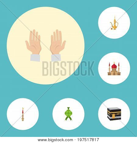 Flat Icons Minaret, Pitcher, Palm And Other Vector Elements