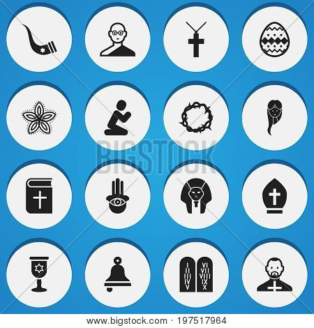 Set Of 16 Editable Dyne Icons. Includes Symbols Such As Christ Wreath, Pope Headwear, Female And More