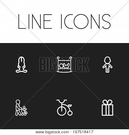 Set Of 6 Editable Kin Outline Icons. Includes Symbols Such As Bunny, Present, Velocipede And More