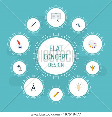 Flat Icons Brush, Artist, Eye And Other Vector Elements