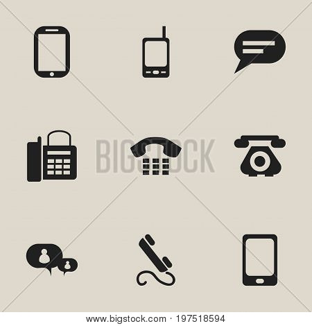 Set Of 9 Editable Phone Icons. Includes Symbols Such As Smartphone, Telecommunication, Call And More