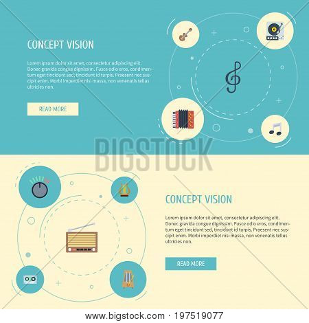 Flat Icons Knob, Lyre, Acoustic And Other Vector Elements