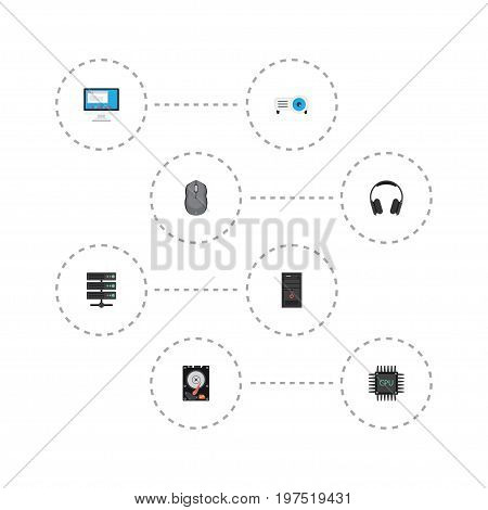 Flat Icons Datacenter, Computer Mouse, Presentation And Other Vector Elements