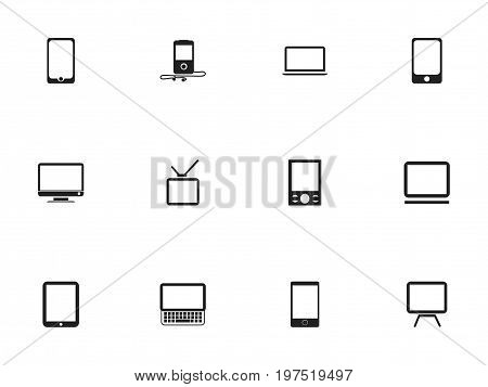 Set Of 12 Editable Instrument Icons. Includes Symbols Such As Music Phone, Monitor, Telephone And More