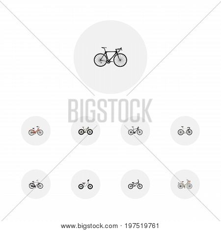 Set Of Bicycle Realistic Symbols Also Includes Bicycle, Vintage, Bmx Objects.  Realistic Exercise Riding, Equilibrium, Brand Vector Elements.