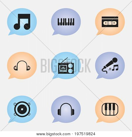 Set Of 9 Editable Sound Icons. Includes Symbols Such As Earpiece, Cassette Player, Piano And More