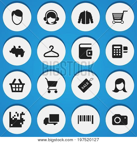 Set Of 16 Editable Business Icons. Includes Symbols Such As Receptionist, Lady Aspect, Sale Label And More