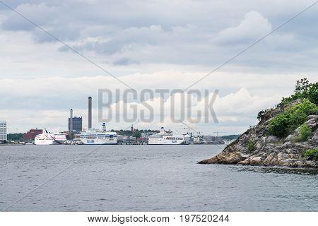 Stockholm, Sweden - July 12, 2017: View Over Frihamnen Port In Stockholm, Sweden, With Several Big S