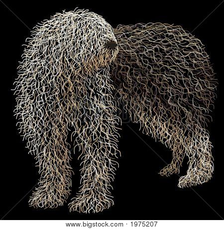 Illustration of an old english sheepdog made from layers of curved lines poster