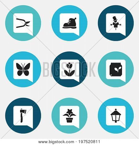 Set Of 9 Editable Planting Icons. Includes Symbols Such As Beauty Flower, Streetlight, Plant Pot And More