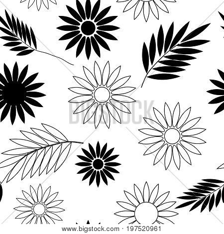 Seamless floral wallpaper with leaf and flower elements