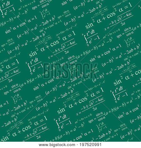 Seamlessly vector wallpaper mathematics on green blackboard