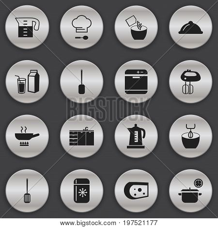 Set Of 16 Editable Restaurant Icons. Includes Symbols Such As Chef Cap, Lactose, Fridge And More