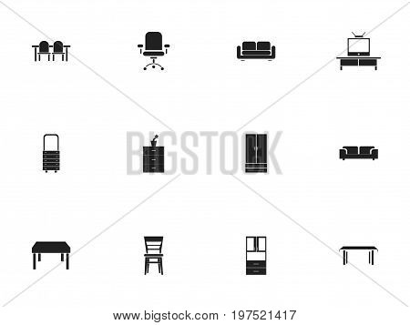 Set Of 12 Editable Furniture Icons. Includes Symbols Such As Davenport, Trestle, Wooden Table And More