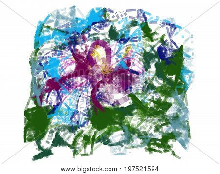 Abstract background of chaotic waves and multicolored spots.