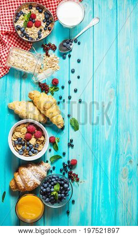 Multigrain wholewheat healthy cereals with fresh berry for breakfast. Top view and copyspace