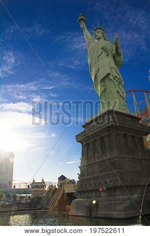 LAS VEGAS - October 11: New York-New York on the Las Vegas Strip on October 11, 2016 in Las Vegas, USA. Replica of the Statue of Liberty is 150 ft (46 m) and the property opened in 1997.