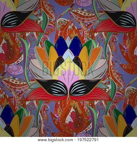 Vector Hip fabric pattern. Seamless Vintage Flower Pattern.