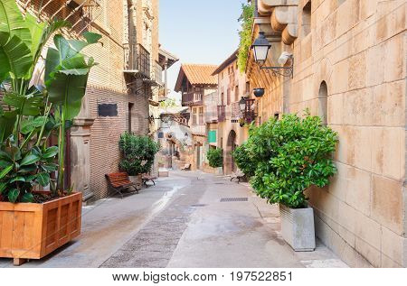 Poble Espanyol street, traditional architecture site in Barcelona, Catalonia Spain