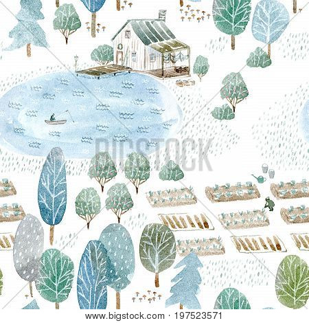 Seamless pattern of a fisherman's house and garden.Landscape of a forest, lake, road and lake.Watercolor hand drawn illustration.White background.