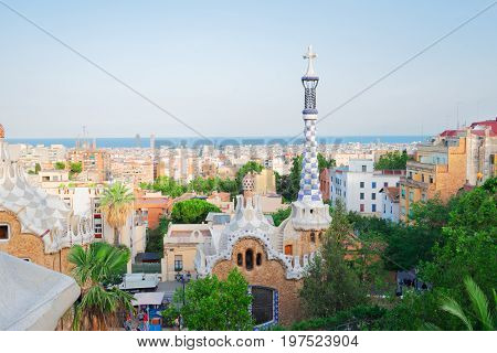 Gaudi spires and cityscape of Barcelona from park Guell, Spain