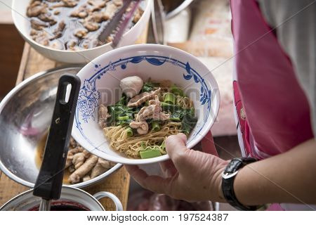 Noodle Soup Shop or Noodle Waterfall in Thailand
