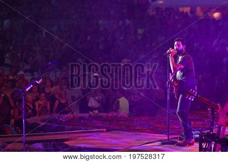 TWIN LAKES, WI- JUL 22: Matt Ramsey of Old Dominion performs during Country Thunder Music Festival on July 22, 2017 in Twin Lakes, Wisconsin.