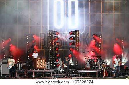 TWIN LAKES, WI- JUL 22: Old Dominion performs during Country Thunder Music Festival on July 22, 2017 in Twin Lakes, Wisconsin.