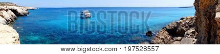 panorama of rocky coast in the mediterranean sea landscape on Cyprus island