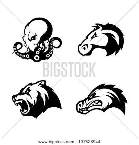 Furious octopus, bear, alligator and horse head sport vector logo concept set isolated on white background. Modern team badge design. Premium quality wild animal t-shirt tee print illustration.