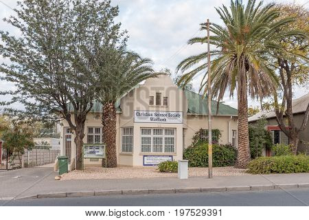 WINDHOEK NAMIBIA - JUNE 18 2017: Building of the Christian Science Society in Windhoek the capital city of Namibia