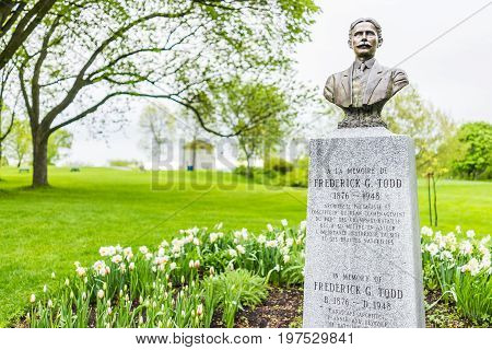 Quebec City Canada - May 30 2017: Monument memorial of Frederick G Todd with bust in plaines d'Abraham