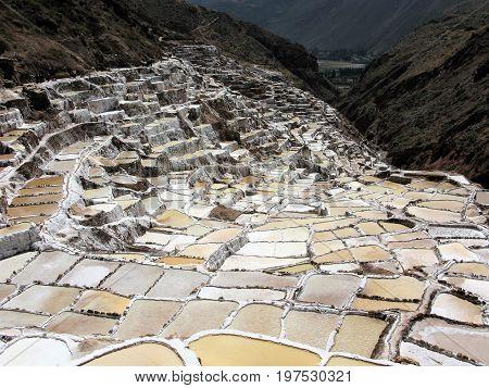 Inca salt pans at Salinas de Maras, Peru