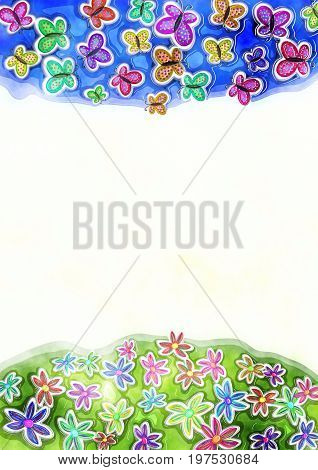 A digitally painted watercolour style butterfly and floral page border with white copyspace.