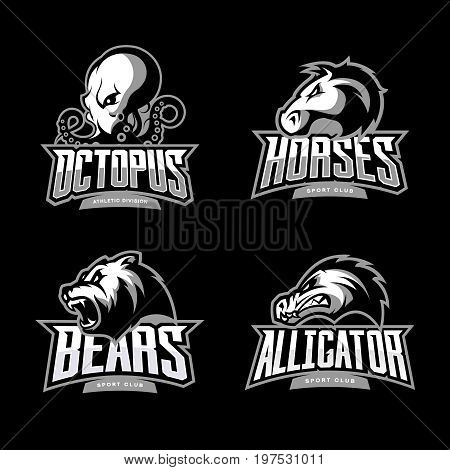Furious octopus, horse, bear and alligator sport vector logo concept set isolated on black background. Modern team badge design. Premium quality wild animal and reptile t-shirt tee print illustration.
