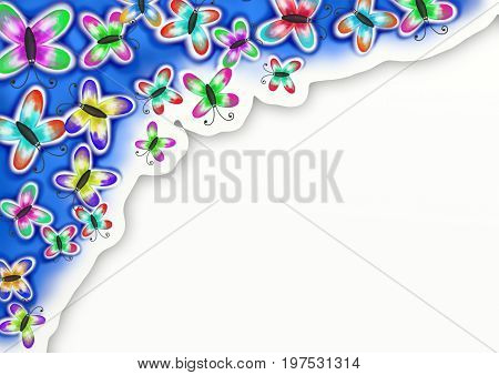 A digitally painted watercolour style butterfly page border with white copyspace.