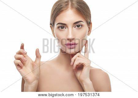 Beauty Woman Showing Empty Copyspace