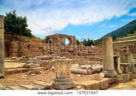 Ruins of brothel, view from Kuretes Street at the ancient Archaelogical site of Ephesus in Turkey.