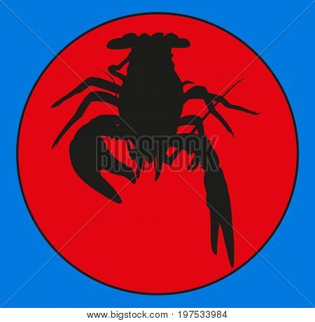 cancers of the emblem . Marine crustaceans , crawfish silhouette, crayfish icon, lobster sign, crawfish . group of arthropods . symbol vector illustration
