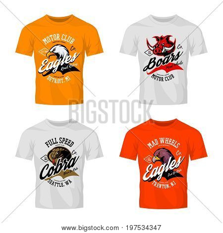 Vintage furious eagle, boar, cobra bikers club tee print vector design isolated on t-shirt mockup. Street wear t-shirt emblem set. Premium quality wild animal mascot logo concept illustration.