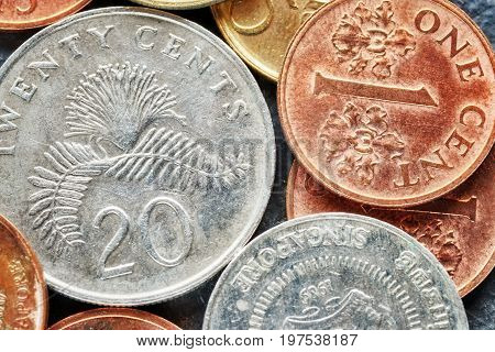Close Up Picture Of Singapore Dollar Coins.