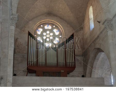 Jerusalem Israel July 14 2017 : Fragment of the interior of the Evangelical Lutheran Church of the Redeemer in the old city of Jerusalem Israel.