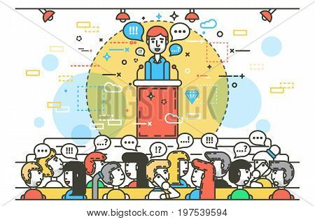 Vector illustration orator spokesman spokesperson speaker behind tribune rostrum podium businessman rhetor politician speech stage audience business presentation spitch line art style white background