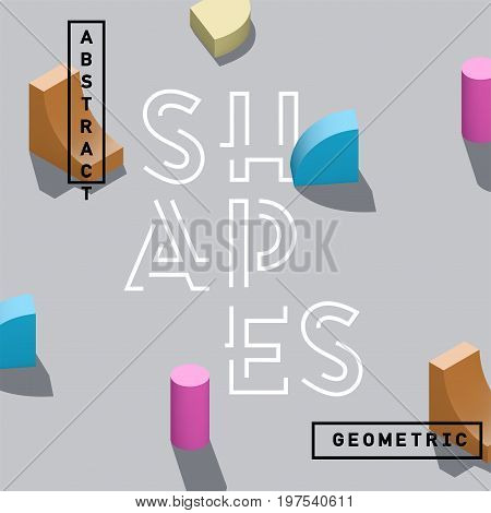 Abstract 3D geometric shapes vector isolated on gray background. Isometric spatial elements for poster banner or book cover.
